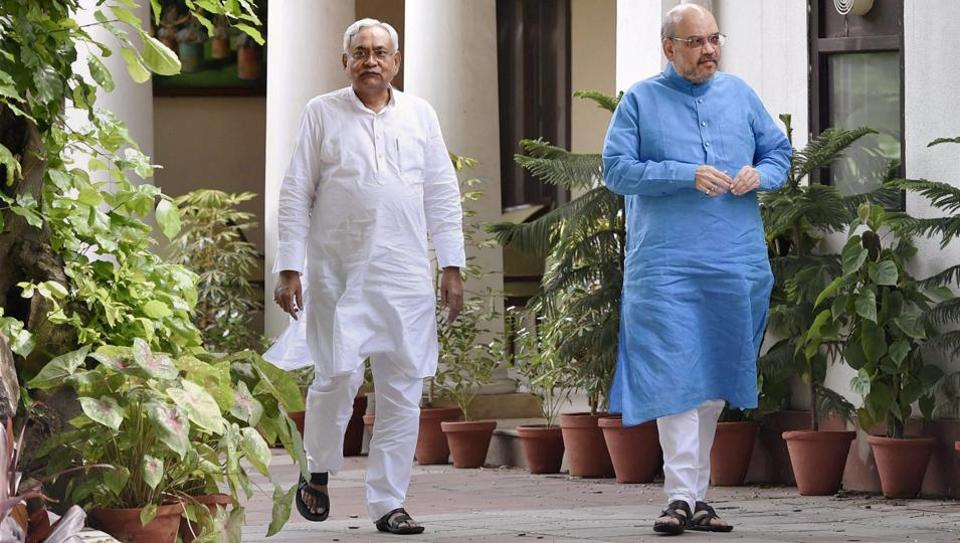 Bihar chief minister Nitish Kumar and BJP chief Amit Shah after a meeting at the latter's residence in New Delhi on Friday.