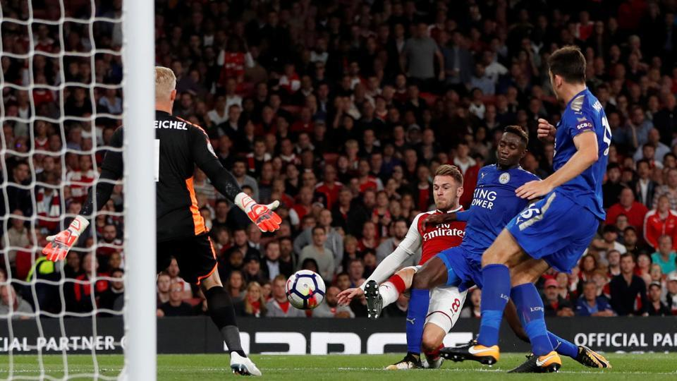 As the game looked to be slipping away from Arsenal's grasp, Aaron Ramsey equalised for the hosts in the 82nd minute. (Action Images via Reuters)