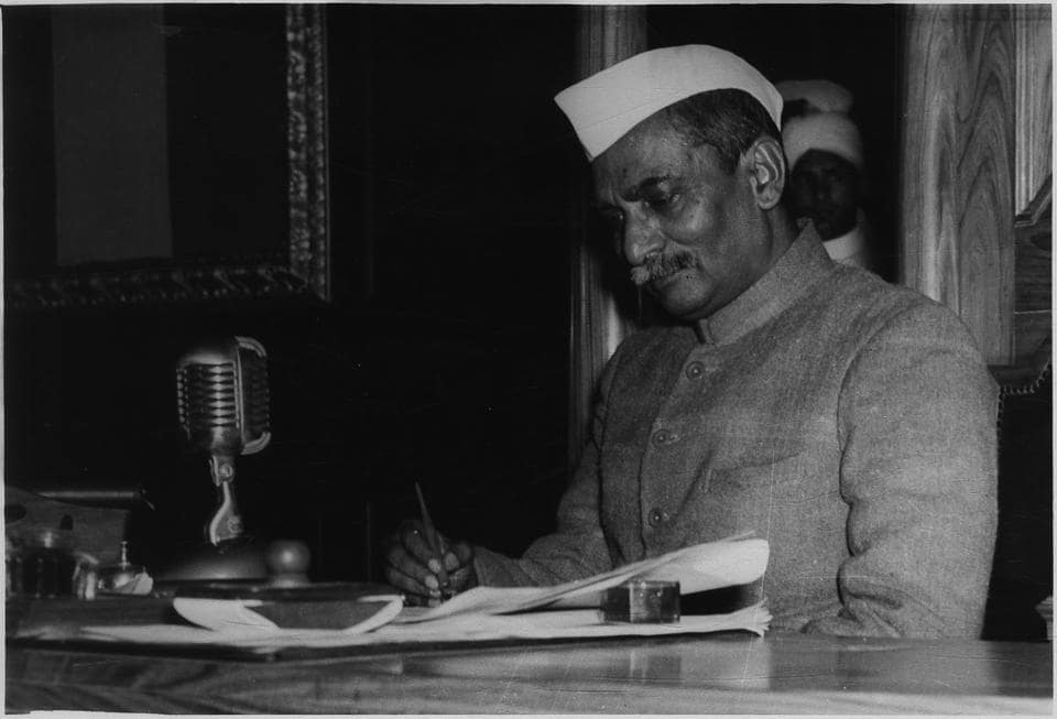 Rajendra Prasad, President of the Constituent Assembly signs the new Constitution of the Indian Republic as passed by the constituent Assembly - HT Photo.
