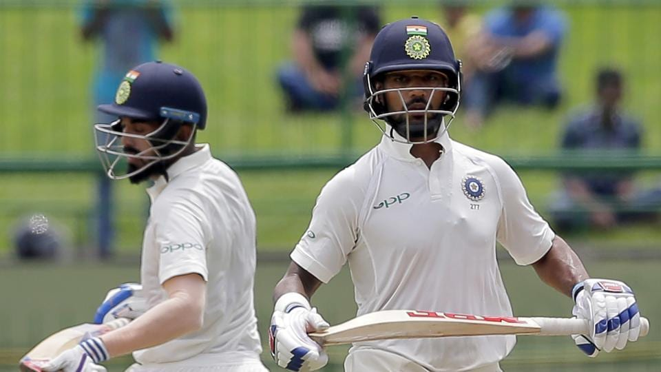 Indian cricket team openers Shikhar Dhawan (R) and KL Rahul in action on Day 1 of the third Test against Sri Lanka cricket team at Pallekele on Saturday.
