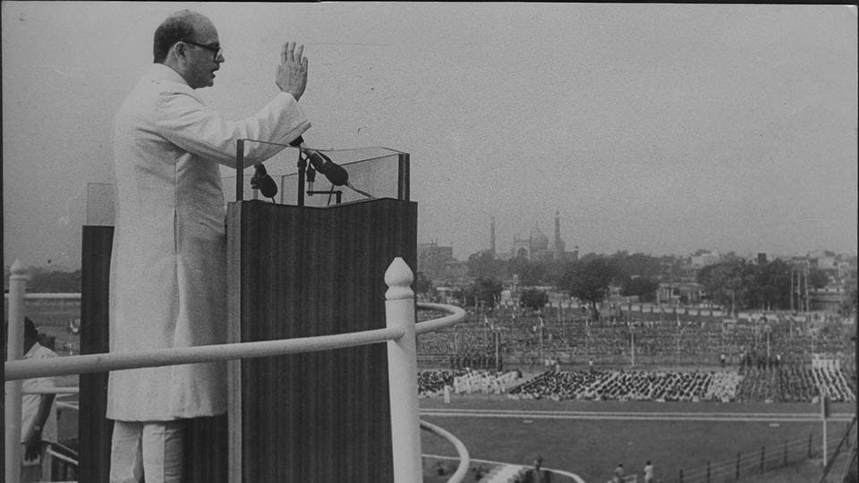 VP Singh during his speech as PM of India in 1990 addressed the nation and implemented the 'Mandal Commission Report' with a mandate to identify the socially and educationally backward. It was later met by violence across the nation mostly by the upper castes. In his speech, he said,' If power in the hands of the rulers could be compared to a sword, it shall act against the exploiters.' (HT  Photo)