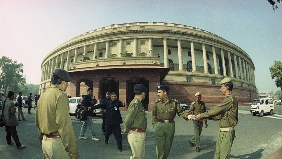 On December 13, 2001, five heavily-armed terrorists, allegedly belonging to Lashkar-e-Taiba and Jaish-e-Mohammed, stormed the Parliament complex, a symbol of India democracy in New Delhi opening fire indiscriminately. The attack led to the death of 12 people, including one civilian. (Arvind Yadav / HT Archive)