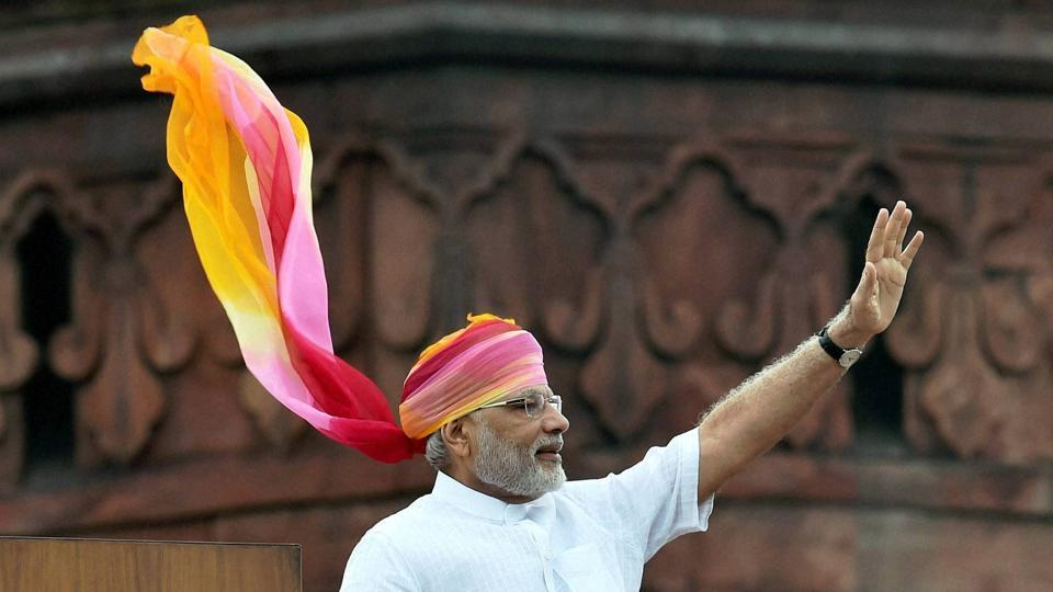 PM Narendra Modi during his first speech from the ramparts of Red Fort on 2014 - 'This is the beauty of India's Constitution, this is its capability which had made possible that today a boy from small town, a poor family has got the opportunity to pay homage to the Tricolor of India at the ramparts of Red Fort. This is the strength of India's democracy. This is an invaluable legacy which we have inherited from our architects of the Constitution' (Shahbaz Khan/PTI)