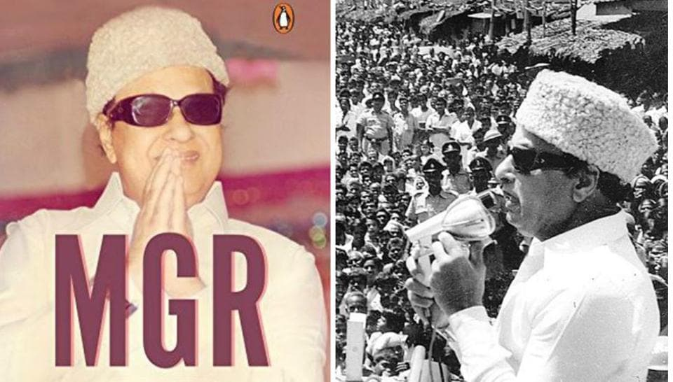 The cover of MGR: A Life (L) and MGR addressing a rally (Right)