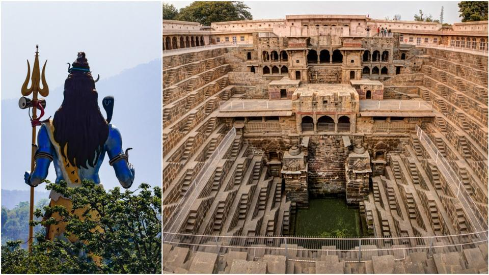 Back view of Lord Shiva in the land of Har ki Pauri (L) and the famous Chand Baori Stepwell in the village of Abhaneri, Rajasthan (R).