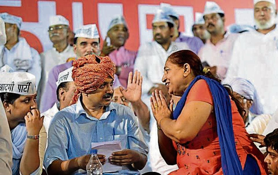 Delhi Chief Minister Arvind Kejriwal addressed the people at a Gaon Panchayat meeting in Bawana. Bypoll at the constituency will be held on August 24.