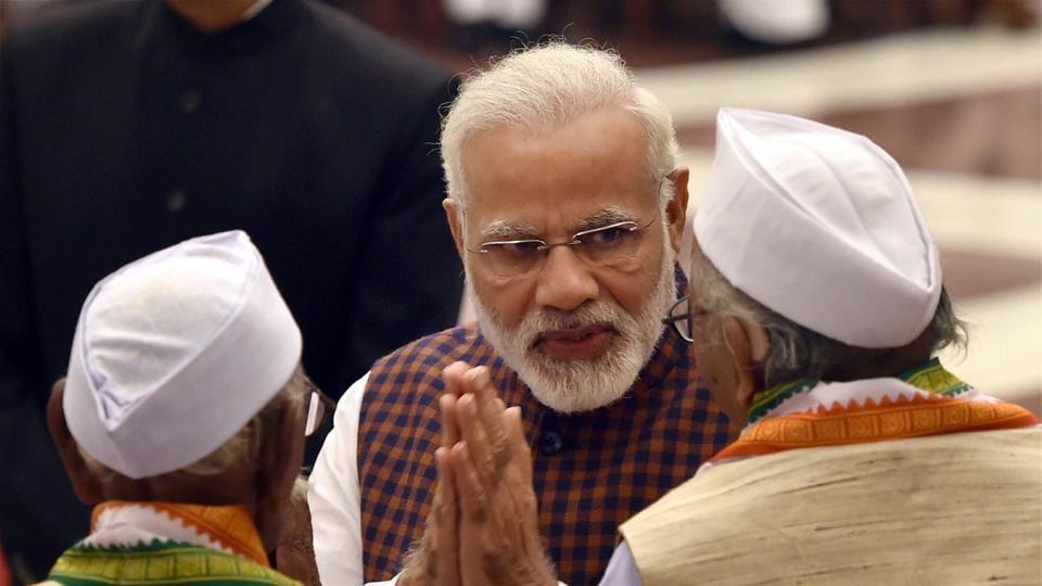 Prime Minister Narendra Modi at Rashtrapati Bhavan in New Delhi.