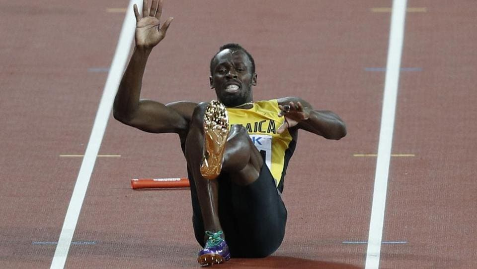 Usain Bolt suffered a cramp during the 4x100m final at the IAAF World Championships in London. (AFP)