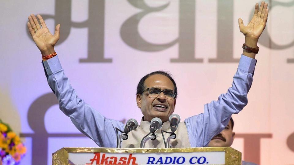Madhya Pradesh CM Shivraj Singh during a rally in Bhopal.