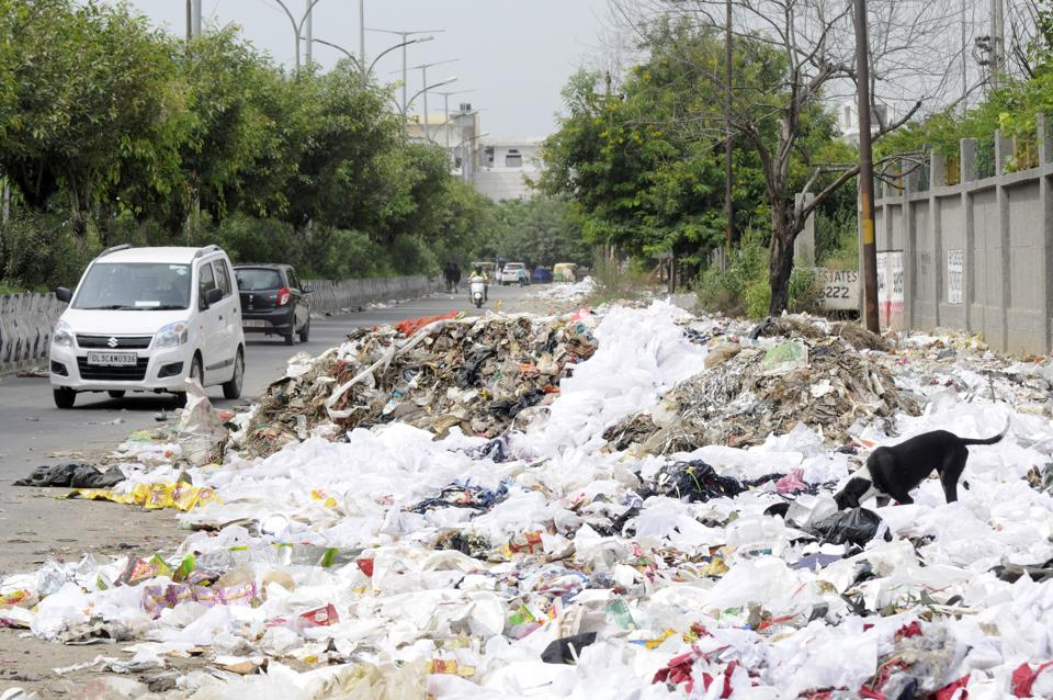 Garbage dumped on a roadside in Noida.