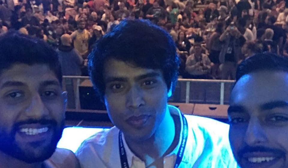 Hemwant Tiwari poses infront of the crowd at the screening of Medinah at Comic Con San Diego.