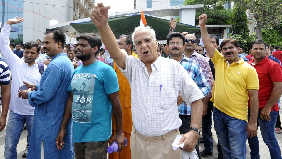Over 400 homebuyers protested outside Amrapali's Sector 62 office in Noida on Sunday.