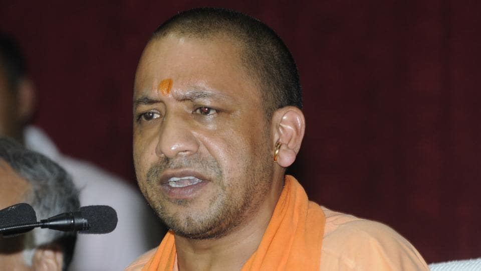 Yogi Adityanath during a press conference at BRD Medical College in Gorakhpur.