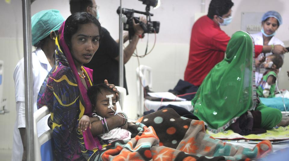 Children at the  encephalitis ward at BRD Medical College in Gorakhpur.