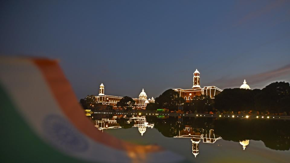 Illuminated  Raisina Hill ahead of the of 71th Independence Day celebration in New Delhi on Saturday.  (Sonu Mehta/HT PHOTO)