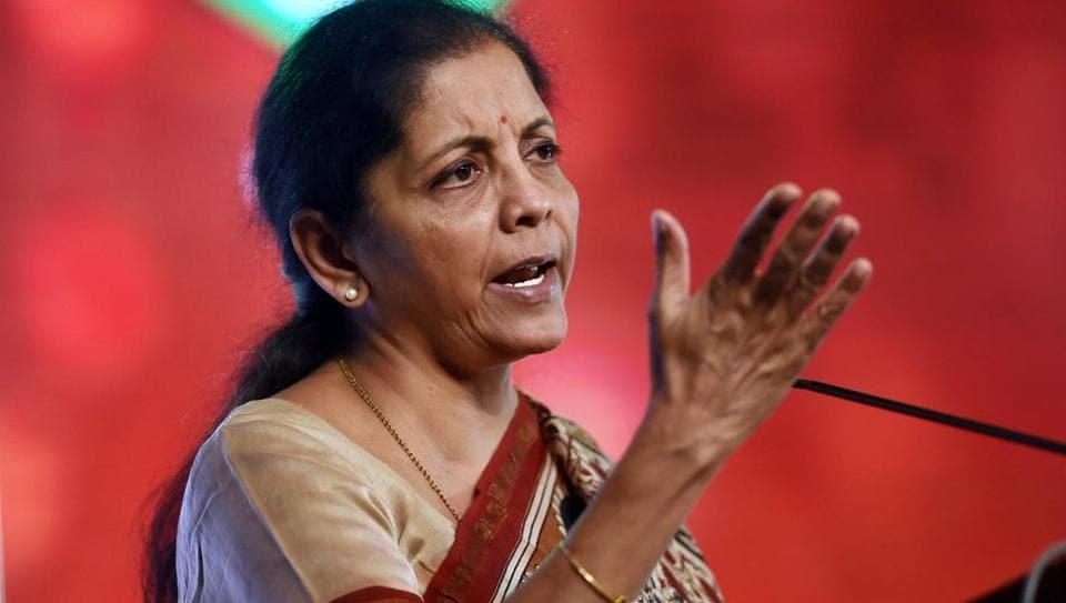 Union commerce minister Nirmala Sitharaman delivers an address during the inauguration of 56th Annual General Meeting of the Federation of Paper Traders' Associations in Chennai.