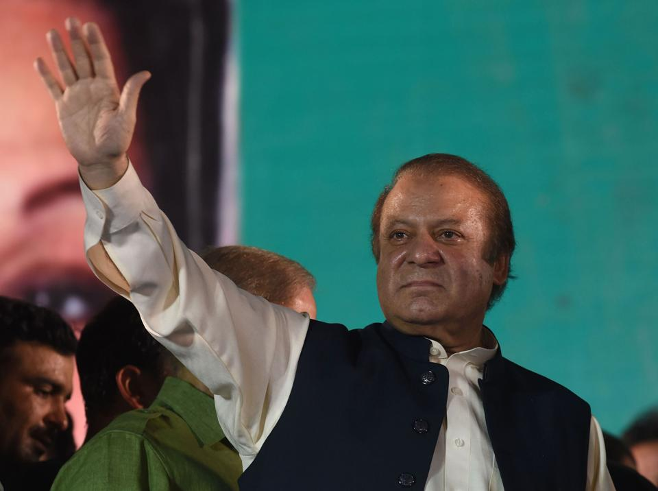 Nawaz Sharif addresses supporters at a rally after reaching Lahore on August 12, 2017.
