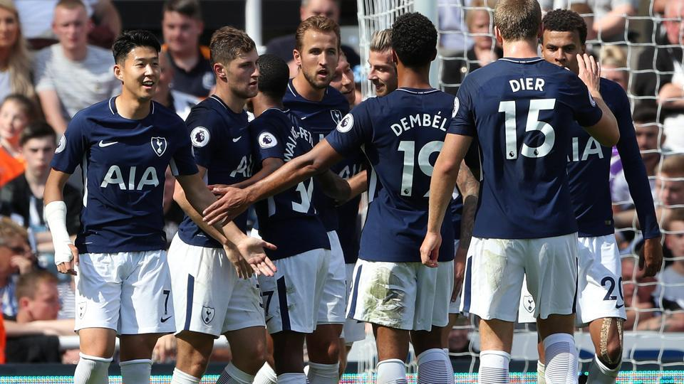 Tottenham's Ben Davies celebrates scoring their second goal with team mates. Get full football score from Newcastle United vs Tottenham Hotspur, Premier League here.