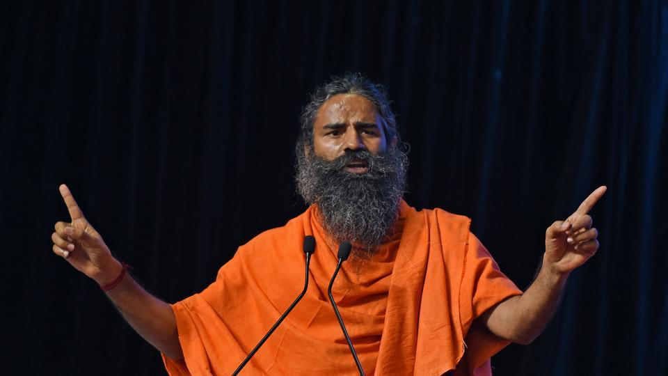 Yoga guru Ramdev on The World Peace & Harmony Conclave on the eve of Independence day at Worli in Mumbai on Sunday.