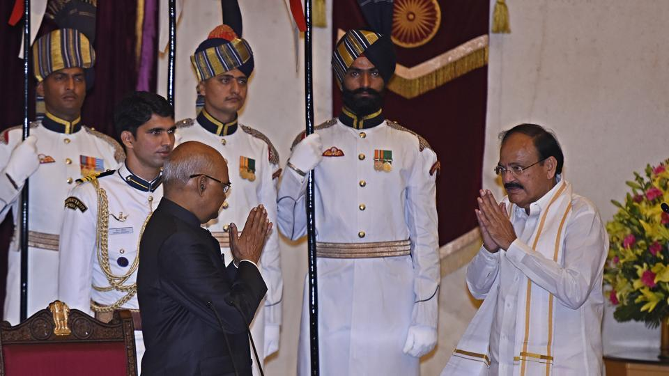 President of India Ram Nath Kovind administering the oath to M. Venkaiah Naidu as the 13th Vice-President of India at the Darbar Hall Rashtrapati Bhawan in New Delhi on Friday, August 11, 2017.  (Sonu Mehta/HT PHOTO)