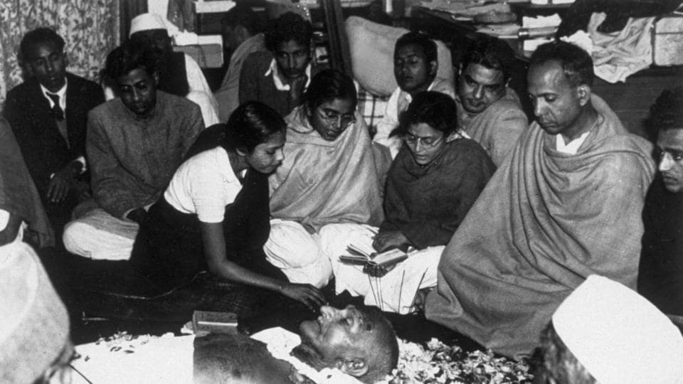 Mahatama Gandhi lies in state at Birla House, New Delhi after his assissination. On January 30, 1948, Gandhi was shot by Nathrum Ram Godse during an evening prayer ceremony at Birla House.