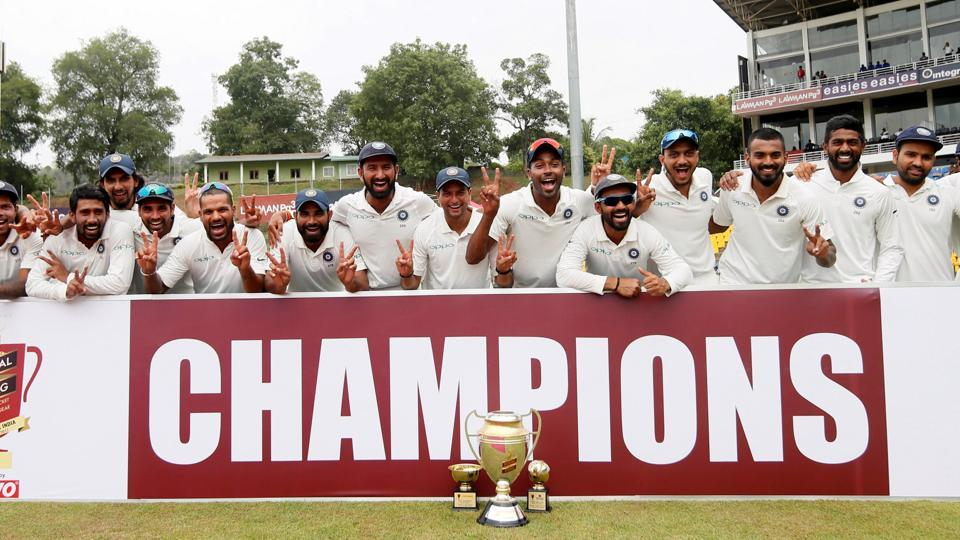 India won the final Test by an innings and 171 runs to win the series 3-0 and complete a historic whitewash of Sri Lanka.  (REUTERS)