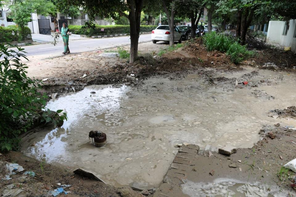 Water pipeline damaged,Water Shortage,Sector 15