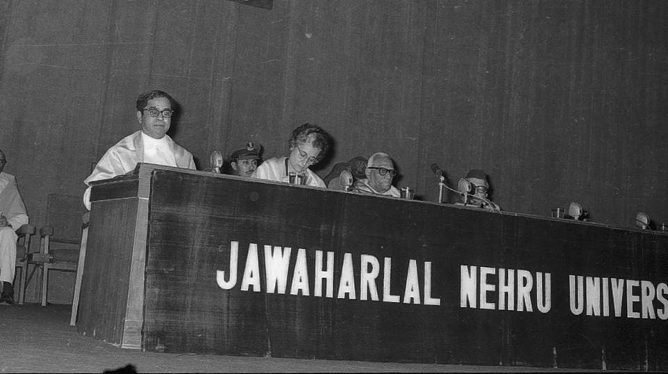 The Jawaharlal Nehru University (JNU) became the first central university established post independence in 1969 with the goal of providing affordable tertiary education to the weaker sections of society while promoting intellectual exploration, scientific socialism and empirical approaches to the problems of the nation. (HT Archive)