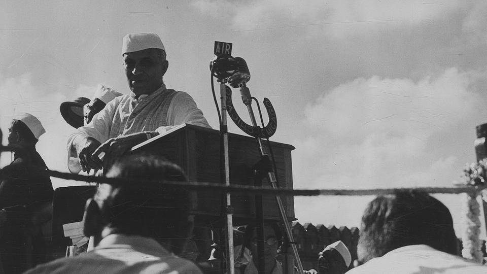 Pandit Jawaharlal Nehru speaks at a function at Delhi's Red Fort on August 15, 1947.
