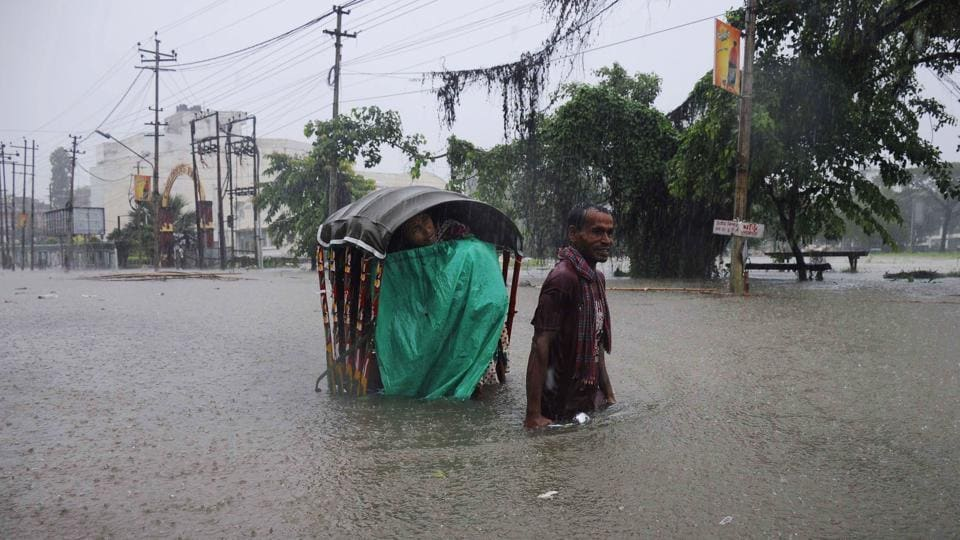 The first wave of floods had claimed 84 lives in Assam and another 62 across Arunachal Pradesh, Manipur, Mizoram and Nagaland between May and July.  (Arindam Dey/AFP)