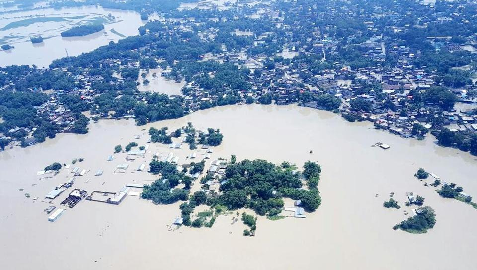 Aerial view of flood affected areas of Bihar.