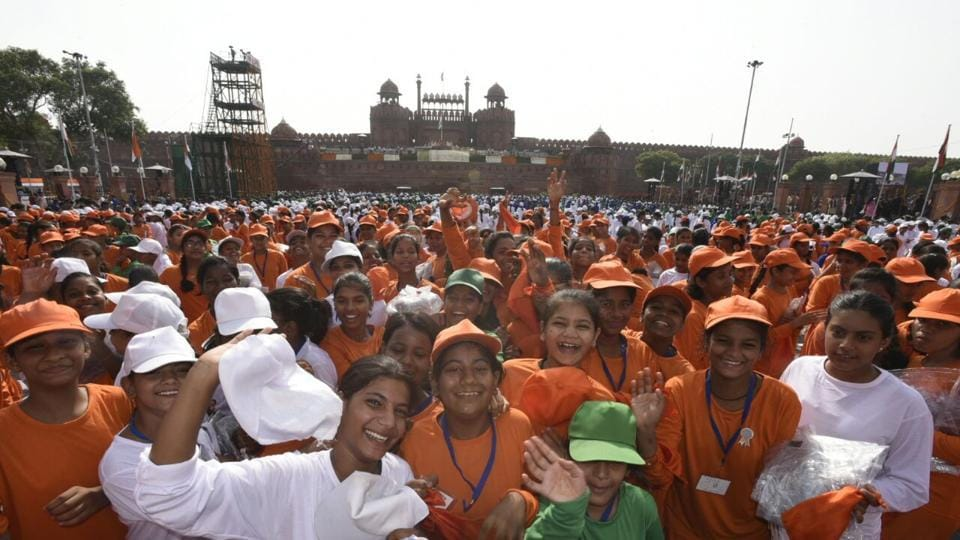 School children and NCC cadets were part of the celebratory display at the Red Fort during the 71st Independence Day function.  On the importance of the country's youth, Modi stated, 'January 1, 2018 will not be an ordinary day -- those born in this century will start turning 18. They are Bhagya Vidhatas of our nation.'  (Sonu Mehta / HT Photo)