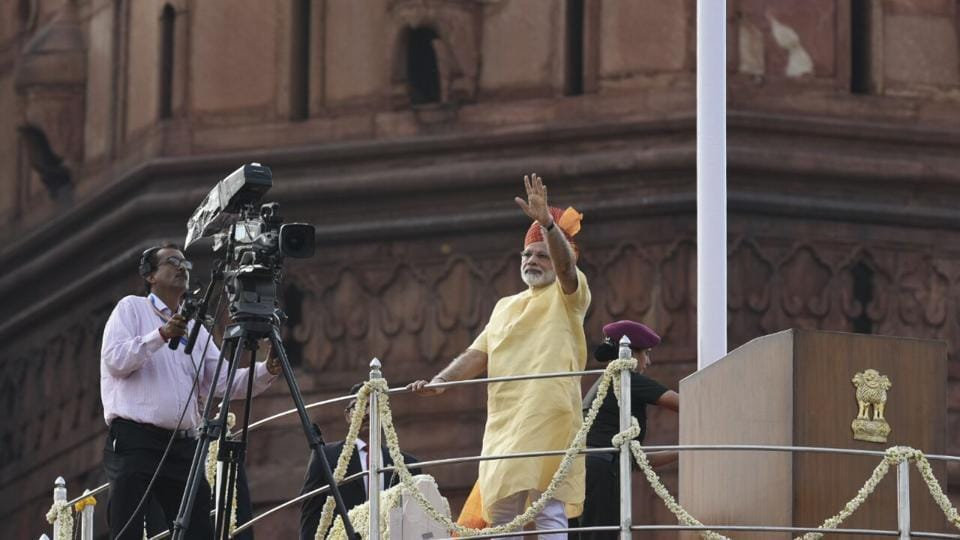 "Prime Minister Narendra Modi at the Red Fort in Delhi on Tuesday. In a 57-minute speech, his fourth from the Red Fort, Modi touched upon many topics including security, demonetisation and black money and vowed to lead India ""with a greater speed""."