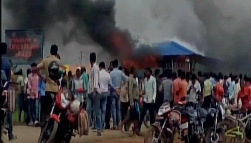 Angry labourers burnt the port's main gate, three offices, an oil tanker and vehicles, police at the spot in Bhadrak in Odisha.