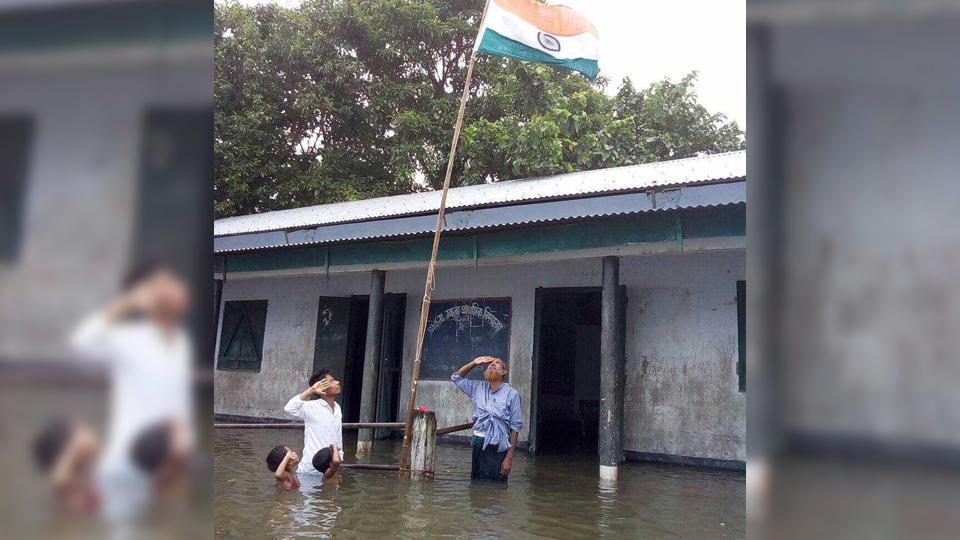 Assam,Assam Floods,Tricolour Hoist