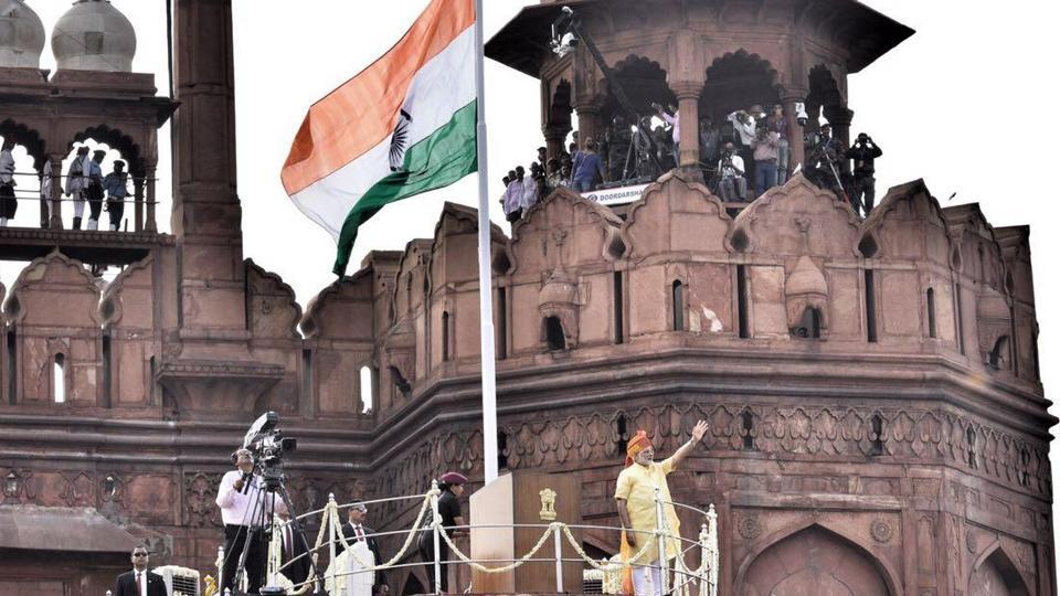 Prime Minister Narendra Modi addresses the nation on Independence Day from the ramparts of the Red Fort in Delhi on Tuesday.