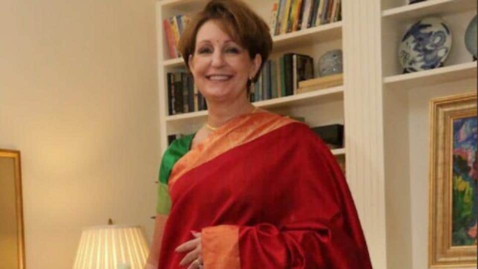 MaryKay Carlson wearing the winning saree.