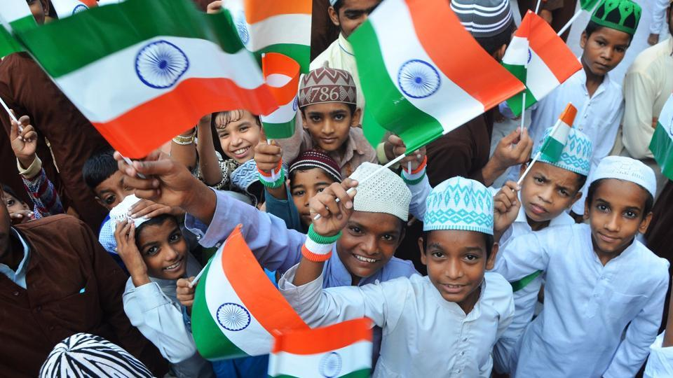 Children celebrate Independence Day at  Dargah-e-Ala Hazrat in Bareilly, Uttar Pradesh.  (Sachin Saini/HT Photo)