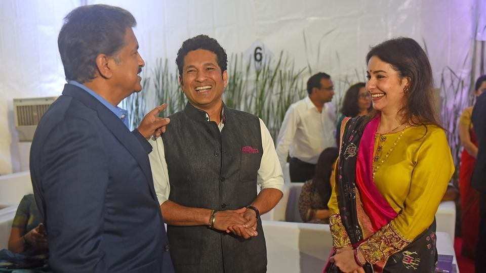 Cricketer Sachin Tendulkar with his wife Anjali at the event. (Pratik Chorge/HT Photo)