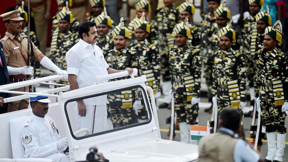 Tamil Nadu Chief Minister Edappadi K Palaniswami inspects the guard of honour during the 71st Independence Day function at Fort St George in Chennai.  (PTI)