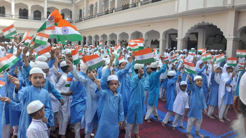 Children at a madrasa in Moradabad, Uttar Pradesh, celebrate Independence Day on Tuesday.