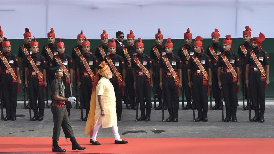 The Prime Minister inspected a guard of honour following his arrival at Red Fort, as part of the  71st Independence Day celebrations in New Delhi. Modi greeted the nation with a tweet early in the morning and paid homage to Mahatma Gandhi with a visit to Rajghat before arriving at the celebration venue. (Raj K Raj / HT Photo)
