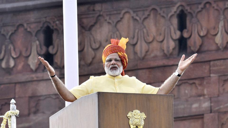 Prime Minister Narendra Modi addresses the nation on  Independence Day from the ramparts of the Red Fort,  August 15, 2017.  The prime minister chose Independence Day to reach out to the Kashmiris.