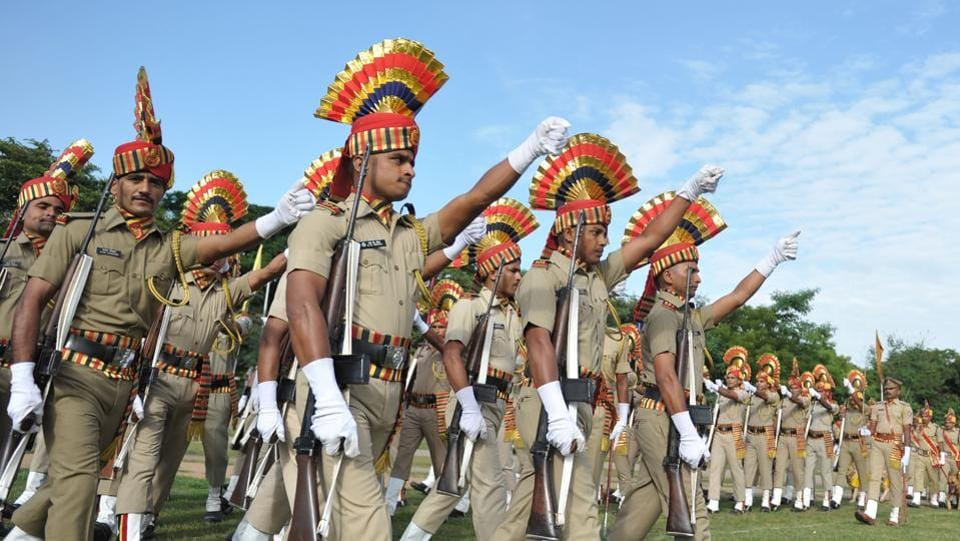 Indian Railway Protection Force (RPF) personnel march during Independence Day celebrations in Secunderabad.  (AFP)