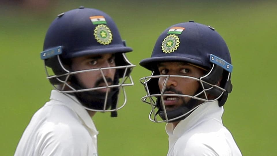 Shikhar Dhawan (R) hit two centuries in India's recently concluded Test series against Sri Lanka while KLRahul slammed two fifties.