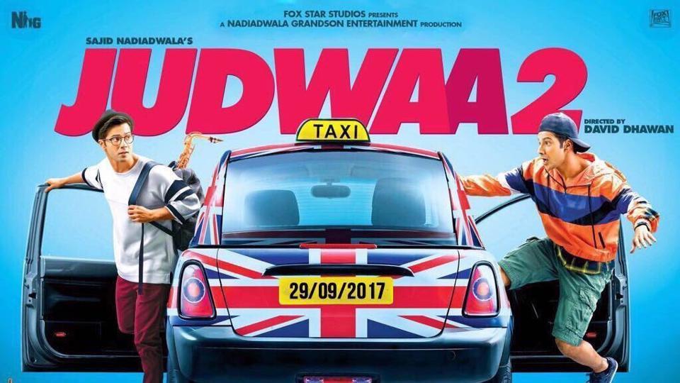 Varun Dhawan and Varun Dhawan in Judwaa 2's first poster released on David Dhawan's birthday.