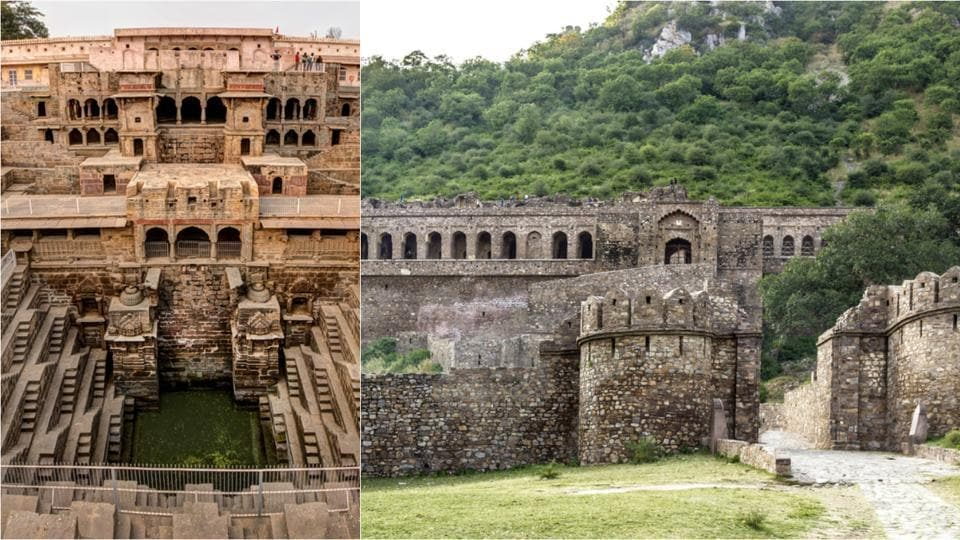 (L) The Chand Baori Stepwell and (R) Bhangarh Fort.
