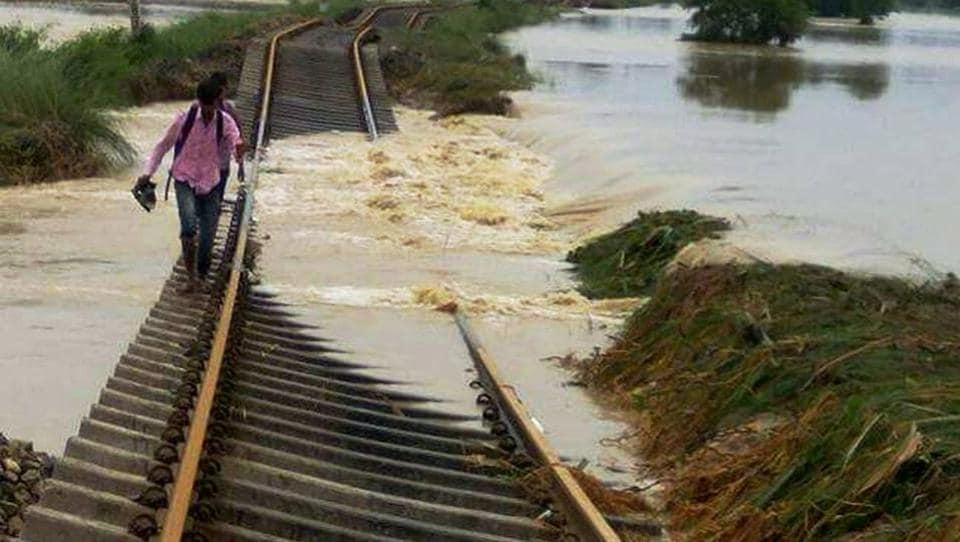 A damaged railway line in flood-hit Katihar district on Tuesday.