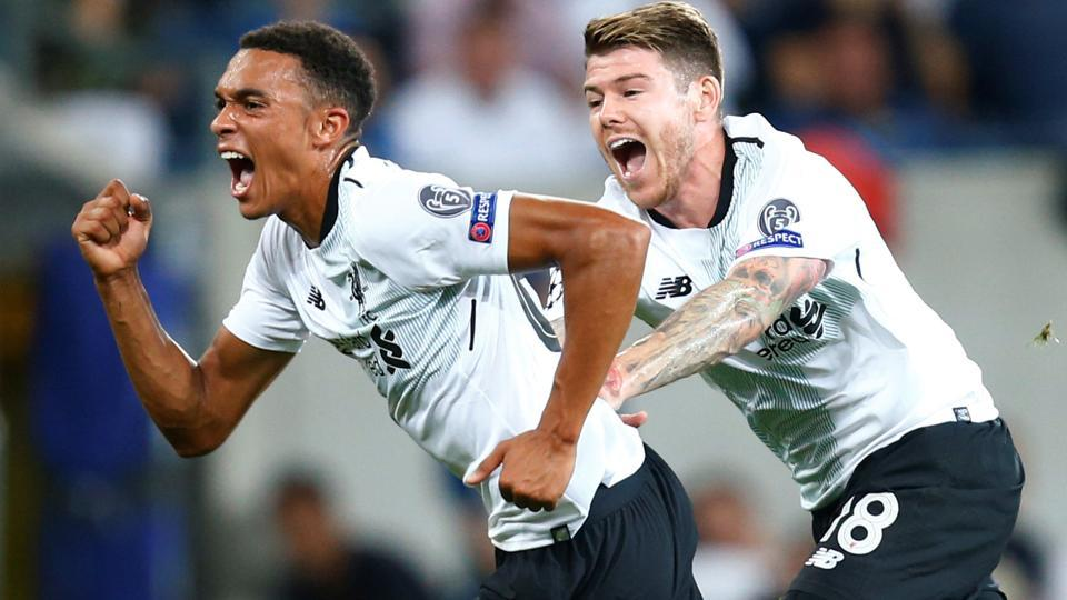 Liverpool's Trent Alexander-Arnold celebrates scoring their first goal against Hoffenheim in the UEFA Champions League qualifying playoff first leg in Sinsheim, Germany, on Tuesday.