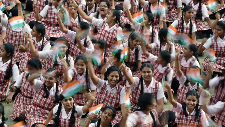Students of Renuka Swarup school were in high spirits at the Independence day celebrations on Tuesday. (Pratham Gokhale/HT PHOTO)